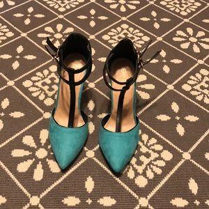 Shoes - Black and aqua blue heels